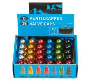 Аксессуар на ниппель valve caps, for AV/FV, black/gold/orange/green/blue/silver