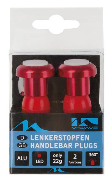 Фара handlebar plugs, alloy, red anodised, with 2 red LEDs, 2 functions,
