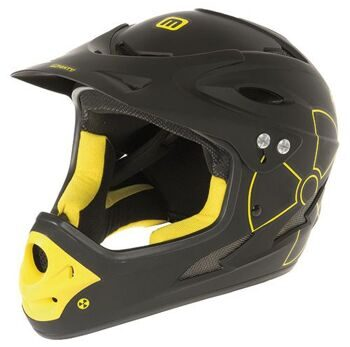 Шлем freeride/downhill, full face helmet,M 53-56cm,matt black/yellow