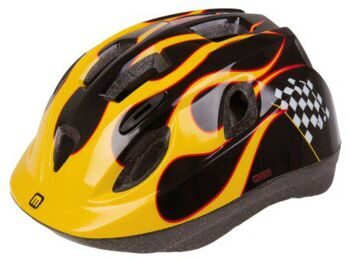 "Шлем Helmet for children, MIGHTY, ""RACE"", black/yellow/red, size: XS = 48-54 cm"