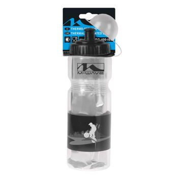 Фляга thermo bottle, M-WAVE, plastic, transparent/black, 400 ml capacity