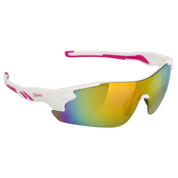 Очки sun glasses, MIGHTY, white, pink iridium coated lens, with spare lens in cl