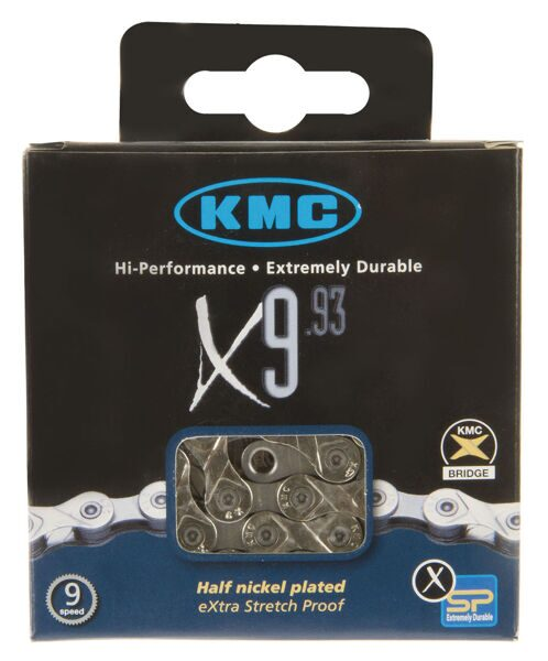 Цепь chain KMC X9-93, 1/2X11/128, 116 links, missinglink, 27 speed, silver/grey