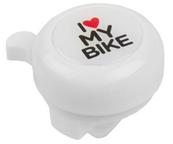 "Звонок  plastic lower part with 2 screws, white with 3-D-sticker ""I LOVE MY BIKE"